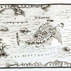 Carte de l'Ile de Sainte Croix établie par Champlain en 1612