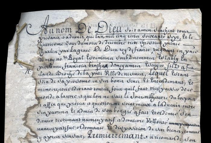 Testament de François de Broche en français (8 décembre 1567)
