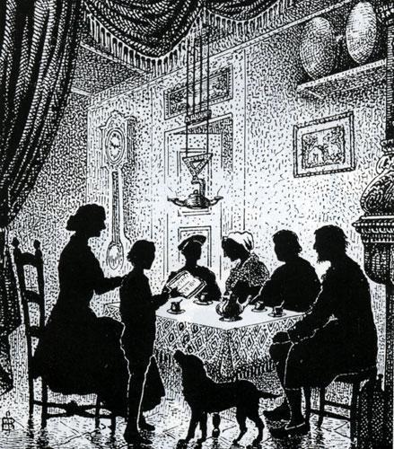 Lecture familiale de la Bible, gravure de Samuel Bastide