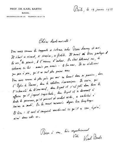 Lettre de Karl Barth à l'occasion de la mort du pasteur Pierre Maury