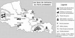 Carte des lieux de mémoire protestant dans le Nord
