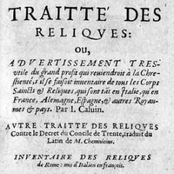 Traité des reliques de Jean Calvin (page de titre)