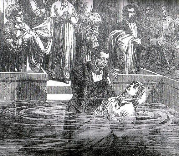Baptême par immersion à l'église baptiste de la rue de Lille à Paris (1876)