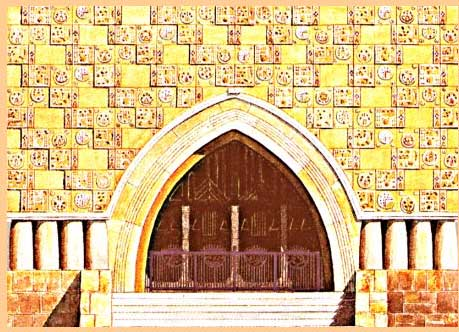 Porche de l'église réformée de Budapest (Hongrie)
