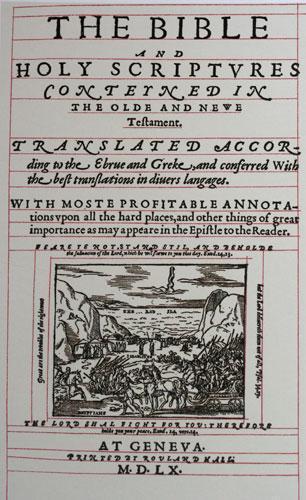 Holy Bible-Bible traduite en anglais à Genève en 1560 (pendant la persécution de Marie Tudor)