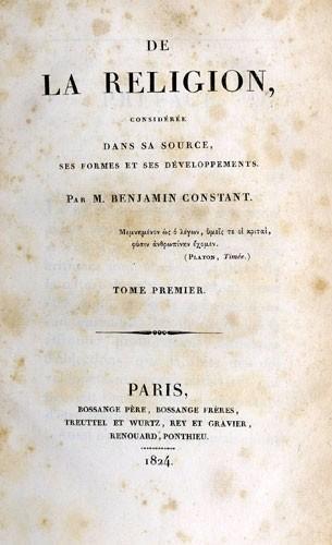 De la religion de Benjamin Constant de Rebecque (1767-1830)