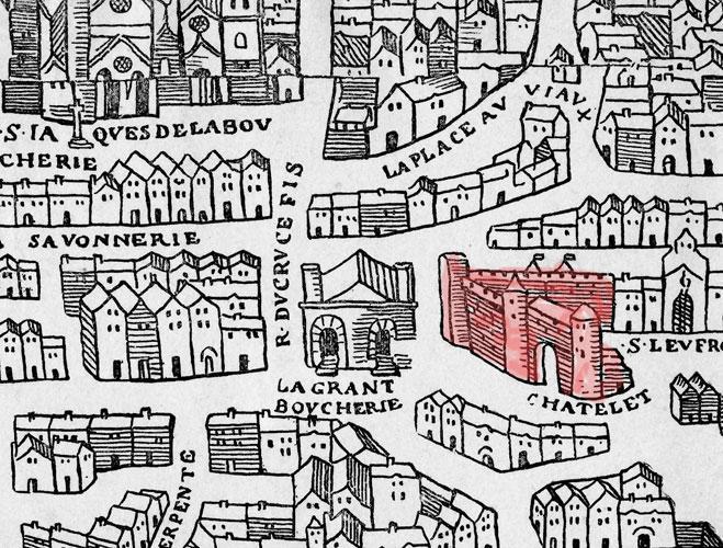 Paris environs du Châtelet (plan dit de Bâle vers 1550)