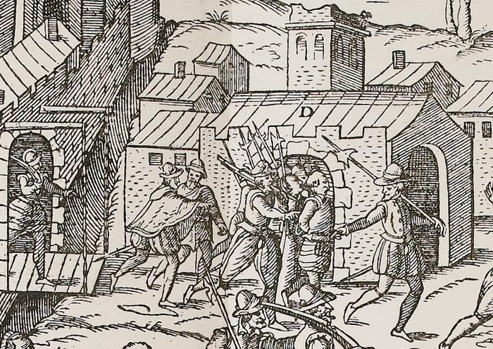 Arrestation d'un huguenot- Extrait des Massacres de Tours(Tortorel et Perrissin)