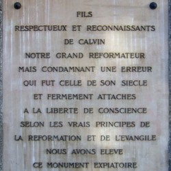 Pierre commémorative à l'endroit du supplice de Servet, dans le quartier de Champel à Genève.