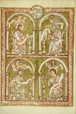 Les quatre évangélistes- miniature médiévale sur parchemin