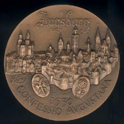 Médaille Confession d'Augsbourg Avers : Luther et Melanchton