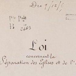 Loi de séparation des églises et de l'État. Page 1 – Archives Nationales –