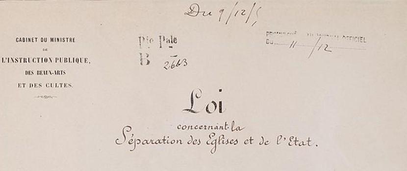 Loi de séparation des églises et de l'État. Page 1 - Archives Nationales -