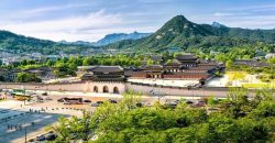 Panoramic of Gyeongbokgung palace and the Blue House , Seoul, South Korea