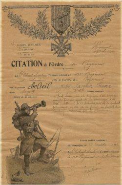 Citation a l'ordre du régiment du sergent Delteil (1916)