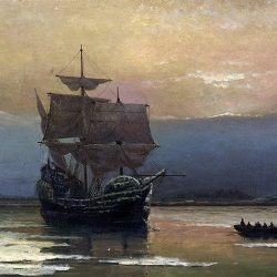 « Mayflower dans le port de Plymouth » par William Halsall, 1882