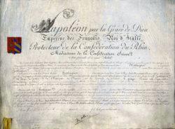 Lettres patentes de Napoléon conférant le titre de baron à Jean-Conrad Hottinger (1810)